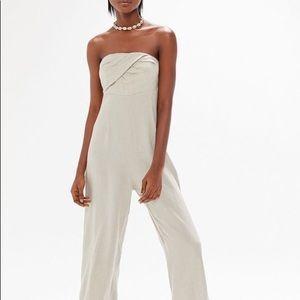 Linen Strapless Jumpsuit. NWOT